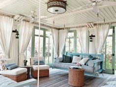 Ideas : Charming Sunroom Design Ideas for Four Seasons - Amazing Vintage Sunroom Porch Design Ideas With Turquoise Hanging Chairs