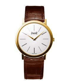 Altiplano watch in rose gold with alligator leather strap, extra-thin automatic movement, price on request, Piaget.