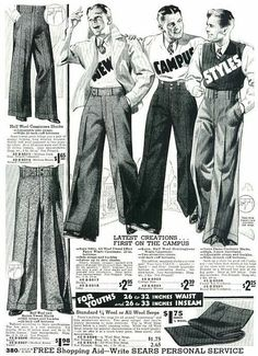 After the First World War men's clothes became less informal and more casual. In the 1920s wide trousers called 'Oxford bags' were fashionable. Men also often wore pullovers instead of waistcoats.