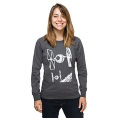 One side of this sweatshirt features a pair of TIE fighters and the other side features an all-over print of ship schematics on a graph paper design.