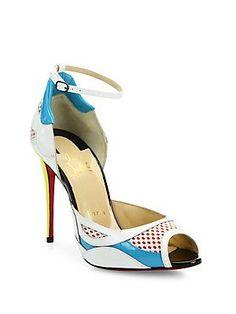 christian louboutin snakeskin ankle strap sandals
