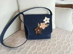 Dark Blue Felt Bag
