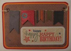 masculine birthday card with banners and stickers. created by netsoojmik