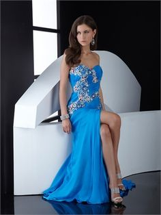 Sweetheart Column open back blue Long with Embroidery Prom Dress PD0810