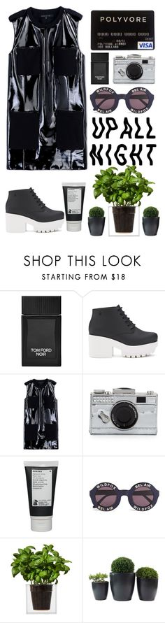 """""""BLACK: up all night"""" by xsimiix ❤ liked on Polyvore featuring Tom Ford, Melissa, Barbara Bui, Kate Spade, Korres, Wildfox and Boskke"""