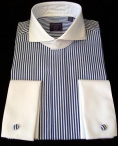 French cuffs Frenc - French Shirt - Ideas of French Shirt - Blue Bengal Stripe Cutaway Collar French Cuff Dress Shirt. French cuffs French blue and white stripes = SEXY! Blue Shirt White Collar, Dress Shirt And Tie, French Cuff Dress Shirts, Cutaway Collar, Camisa Formal, Camisa Polo, Contrast Collar, French Blue, Formal Shirts