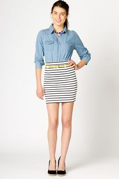 Skinny Stripe Skirt // a-thread pledges that 5% of every sale will go straight to the charity of your choice.