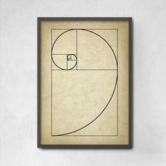 Fibonacci Spiral Wall Art Poster - Mathematics Fibonacci Numbers - Fibonacci…