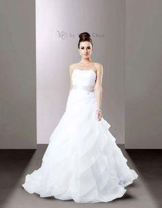 organza layered wedding gown