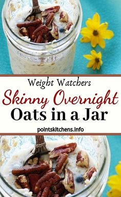 Skinny Overnight Oats in a Jar Weight Watchers Recipe. Ingredients: cup quick oats cup unsweetened almond milk (or skim, soy) medium banana, sliced (freeze the rest for smoothies! Weight Watchers Oatmeal Recipe, Weight Watcher Overnight Oats, Weight Watchers Breakfast, Weight Watchers Meals, Top Healthy Foods, Healthy Food Habits, Healthy Eating Recipes, Eat Healthy, Healthy Meals
