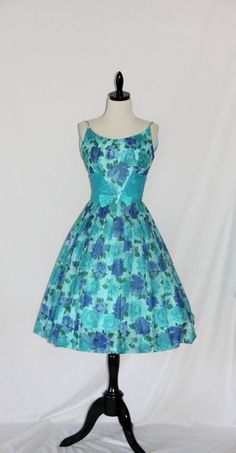 Vintage Dress - 1950's Aqua and Turquoise Semi Sheer Floral Full Skirt Dance Party Dress