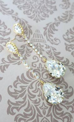 Champagne Gold Wedding Earrings Bridesmaid Earrings Bridal Jewelry Wedding Clear Swarovski Crystal Tear Drops with Cubic Zirconia, www.glitzandlove.com