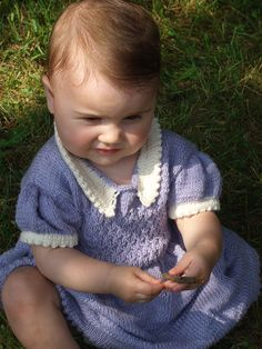 Knitting pattern for Bluebell Baby and Child Dress #ad szs 1,2,4,6 &8 Features smocked bodice, gathered skirt, with contrasting white collar and sleeves and picot edging. More pics of other sizes on Etsy