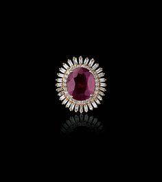 Farah Khan for Tanishq ruby ring with diamonds set in yellow gold.