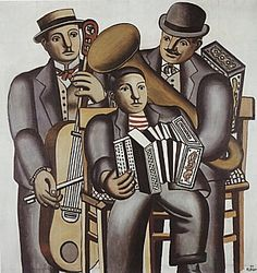 ♪ The Musical Arts ♪ music musician paintings - Fernand Leger | Three Musicians, 1930