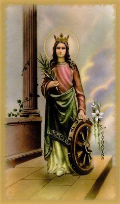 Catherine was born Alexandria, Egypt. Catherine was was virgin. Catholic Gifts, Catholic Art, St Catherine Of Alexandria, Saint Katherine, Prayer Cards, Sacred Art, My Images, Prayers, Illustration