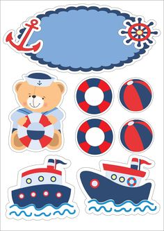 Topo de bolo - Tema: ursinho marinheiro visite nosso site para visualizar essas e outras imagens em alta qualidade Fondant Cupcake Toppers, Birthday Cake Toppers, Baby Shawer, Baby Art, Baby Shower Marinero, Dibujos Baby Shower, Bear Theme, Nautical Party, Scrapbook Stickers