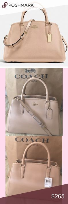 """NWT COACH SM MARGOT CARRYALL NWT COACH SM MARGOT CARRYALL IN CROSSGRAIN LEATHER COLOR:BEECHWOOD Crossgrain leather Inside zip, cell phone and multifunction pockets Zip-top closure, Velcro interior. Strap with 20"""" drop for shoulder or crossbody wear Coach Bags Satchels"""