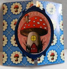 """This 3D toadstool card has a centre opening. You can write your message on the back.   Blank for you to add your own personal message.   4.25"""" x 4.25""""  10.5 cm x 10.5 cm"""