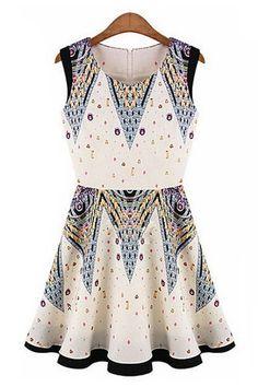 Vintage Print Sleeveless Dress OASAP.com