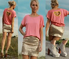 Justyna G Peach Golden Heart Tee, Justyna G Golden Girl, Jeffrey Campbell Nude Suede Litas