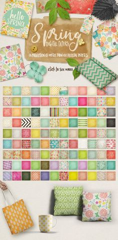 Spring Digital Papers Collections by 7th Avenue Designs on @creativemarket