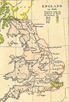Map of Anglo Saxon Britain Uk History, Roman History, British History, Family History, Old World Maps, Old Maps, Vintage Maps, Antique Maps, Historical Maps