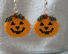 Autumn Foliage Trees Hand Beaded Earrings by earthlytreasures
