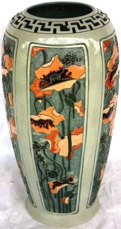ROSEVILLE DELLA-ROBBIA TALL VASE art nouveau poppy pottery ceramics clay