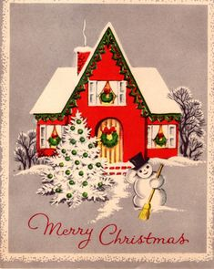 Vintage Christmas card-Holiday - Seasons Greetings.