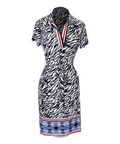 Loving this Black & White Abstract Tie-Waist Dress on #zulily! #zulilyfinds