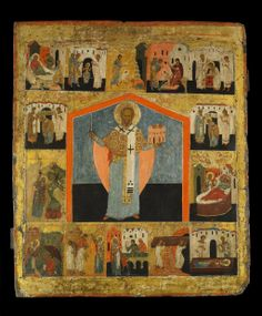 British Museum Russian painting of ST Nicholas with scenes from his life.