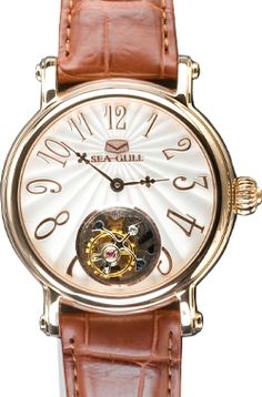Sea-Gull - Automatic Tourbillon Watch in Rose Gold - Tourbillon Watch, Gull, Cool Watches, Rose Gold, Sea, Leather, Accessories, Cool Clocks, Ocean