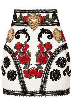 Dolce & Gabbana Embellished embroidered leather mini skirt | NET-A-PORTER