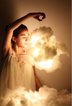 Cotton clouds~ glue cotton over hanging lanterns or over table lamps.
