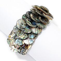 150-934 - Dallas Prince Sterling Silver Abalone Adjustable Toggle Bracelet