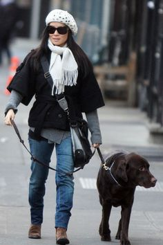 Behind the Scene : 15 Adorable Celebrity Dogs…   Lucy Liu and Her Lab