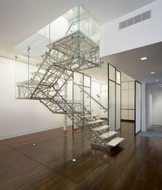 3D Industrial Design: Incredible Metal & Glass Staircase