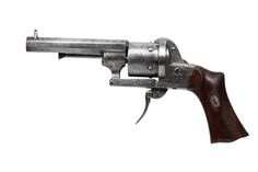 7mm pinfire revolver made by Eugene Lefaucheux in Paris, France for DUMOULIN, an arquebusier and gun retailer in Rouen, Seine-Maritime, Upper Normandy, France.