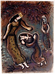 Marc Chagall: Original Lithographs for The Story of Exodus (1966) Pharaoh's daughter and Moses