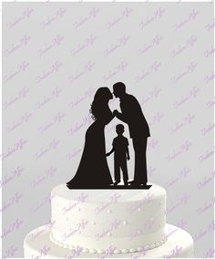 Wedding Cake Topper Silhouette Groom and Bride with older Boy -  Family Acrylic Cake Topper [CT62ob] by TrueloveAffair on Etsy https://www.etsy.com/listing/242031404/wedding-cake-topper-silhouette-groom-and