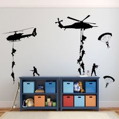 Wall Decal Boys Room Army Soldiers Stickers Helicopters Parachutes Fighting GI Joe Men  sc 1 st  Pinterest & Biplane Monoplane Wall Decal- 3 Airplanes Wall Decal- Wall Decals ...