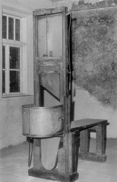 "Guillotine from the town of Katowice, nicknamed ""the Red Widow"". (Photo by Adam Cyra). It was used to execute over 550 people accused of resistance against the Nazi occupation between 1941 and 1945. The machine is currently stored at the Auschwitz-Birkenau holocaust Museum.Source: FALLBEIL: THE TEUTONIC GUILLOTINE boisdejustice.com..."