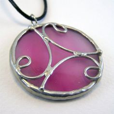 Pink Lemonade - Stained Glass Pendant with Black by faerieglass