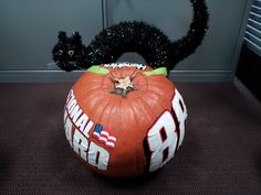 The back of No. 88 front-tire carrier Kevin Harris' pumpkin. Harris and No. 88 rear-tire carrier Matt Ver Meer decided to join in the fun by carving their own Hendrick Motorsports-themed pumpkins to help remind fans to do the same.