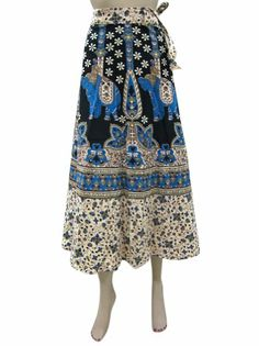 Amazon.com: Long Wrap Skirt Blue Beige Elephant Print Beach Dress Wrap Around Skirt: Clothing