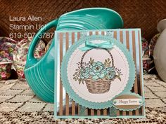 "I Love, Love this new Sale-A-Bration set from Stampin Up....It's just my style! I am going to make tons with it! You can get the set free with a qualifying purchase. Together the ""Blossoming Basket"" stamp set and the ""Basket Weave"" embossing folder are one of my all time favorite sets ever!"