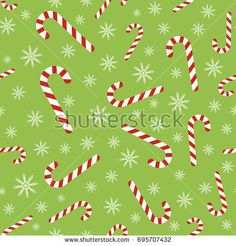 Christmas vector seamless pattern with candy canes and snowflakes. Background for wrapping paper, fabric print, greeting cards design