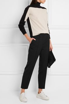 Black stretch-wool Concealed hook and zip fastening at front wool, elastane; viscose, polyester Dry clean Made in ItalyLarge to size. See Size & Fit notes. Modern Tailor, Spring Summer 2015, Jil Sander, Straight Leg Pants, Work Wear, Stretches, Knitwear, Fashion Outfits, Wool