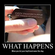 For the love of God, dont let your boyfriend name the dog!